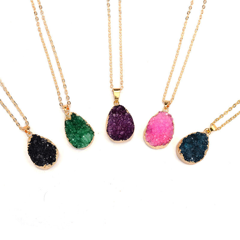 Druzy Quartz Natural Stone Irregular Geode Amethyst 18K Gold Plated Raw Stone Pendant Necklace For Women Quartz Necklace