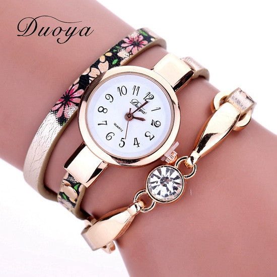 Duoya Watch Women Brand Flower Luxury Gold Women Luxury Bracelet Watch Dress Vintage Female Electronic Quartz Wristwatch