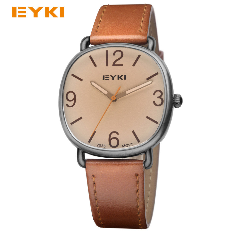 EYKI Men's Antique Watches Luxury Popular Brand Leather Strap Casual Quartz Wrist Watches