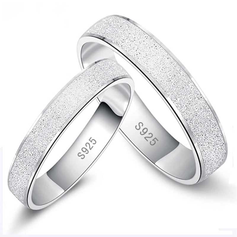 Hot Sale No Change Color Platinum Plated Wedding Ring Frosted Couple Ring For Men and Women