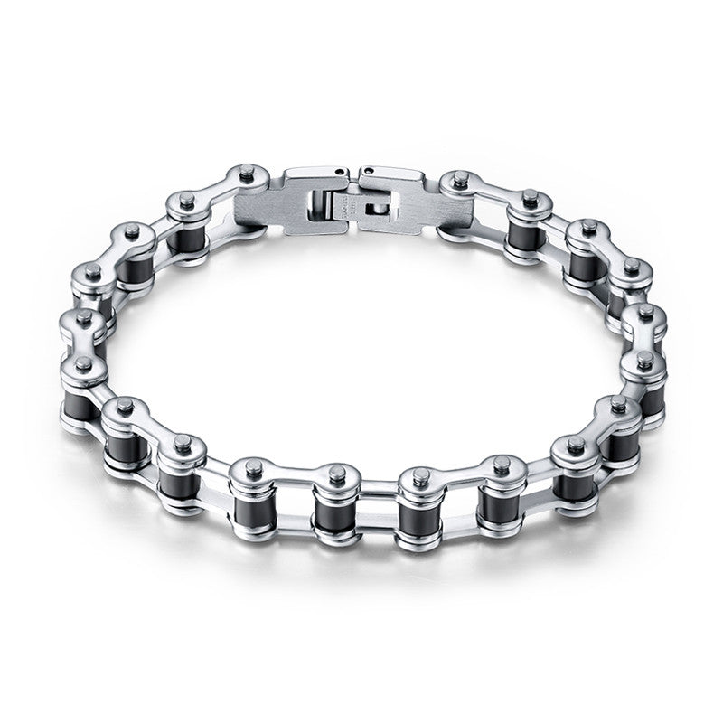 Top Quality Men's Motor Bike Chain Motorcycle Chain Bracelet Bangle 316L Stainless Steel Jewelry with Silicone