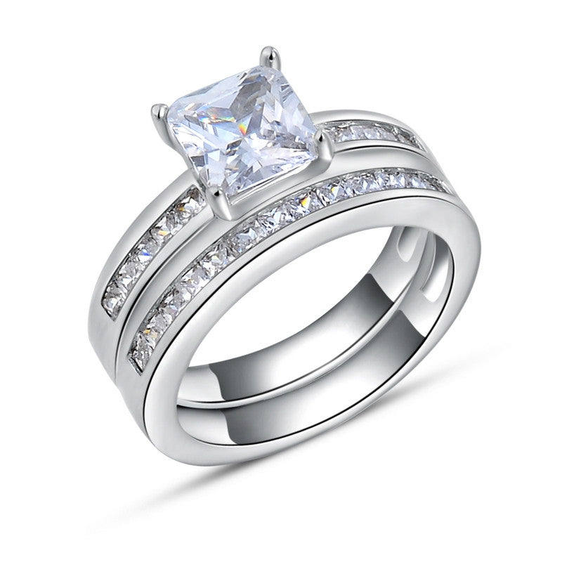 Woman Finger Ring Platinum Plated with 0.8 ct Princess Cut Cubic Zirconia Women Wedding Ring Set, 2 Piece/Set