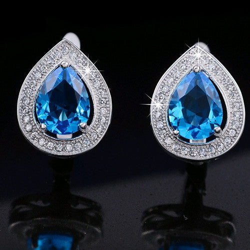 Effie Queen Luxury Water Drop Blue Zircon Earring Stud Platinum Plated with Micro Paved Clear CZ Fashion Jewelry