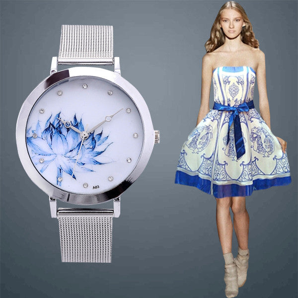 Eiffel Tower Flower Watch Fashion Luxury Women dress Watch Female Stainless Steel Strap Analog Round Dial Relogios Quartz clock