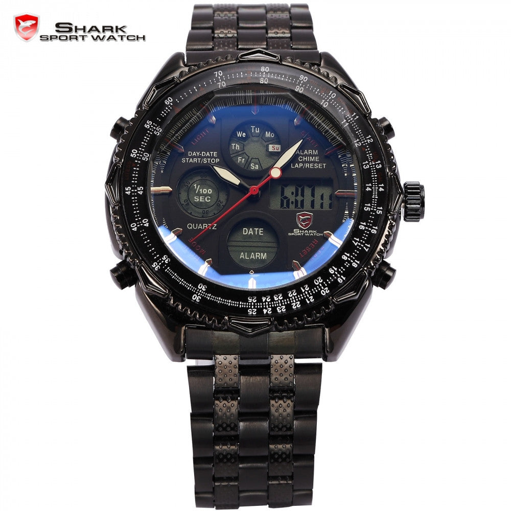 Eightgill Shark Sport Watch Digital LCD Analog Stainless Steel Band Date Day Chronograph Black Men Military Quartz Watches