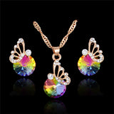 Elegane Colorful Zircon Jewelry Set Wedding Jewelry Set Crystal Butterfly Necklace Earrings Bijoux Femme Indian Jewelry