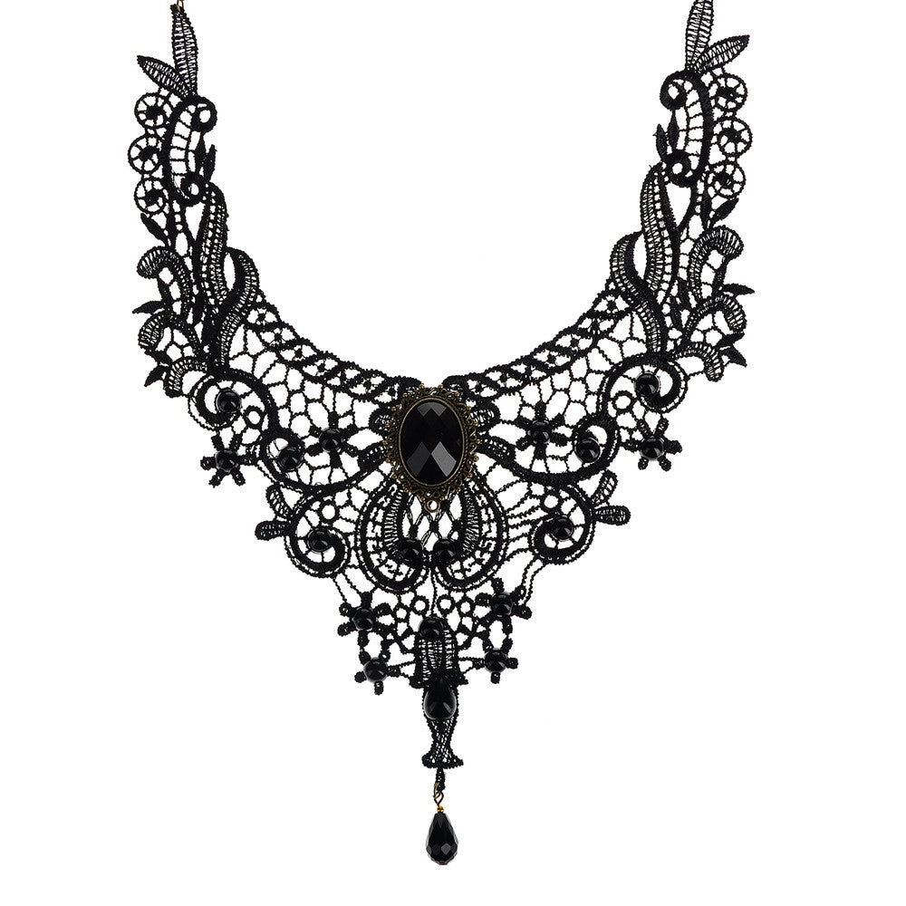 Fashion Elegant Handmade Lace Beads Collar Choker Necklace Gothic Vintage Statement for Women Party Wedding Jewerly Accessories