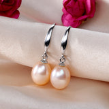 Elegant 8-9mm water drop freshwater pearl earrings classic 925 silver earrings for women