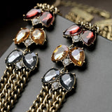 Elegant Dress Jewelry Simulated Gemstone Antique Multi Chains Colares Femininos Necklace Fashion Bijoux for Women