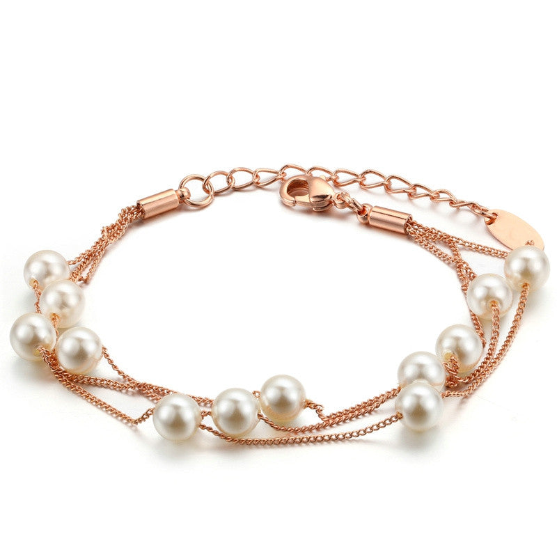 Elegant Imitation Pearl Chain Bracelet Rose Gold / Platinum Plated Jewelry For Women Partry Gift