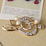 Elegant Music Note High-Grade Lovely Crystal Brooch Fashion Jewelry Rhinestone Pin Christmas Gift