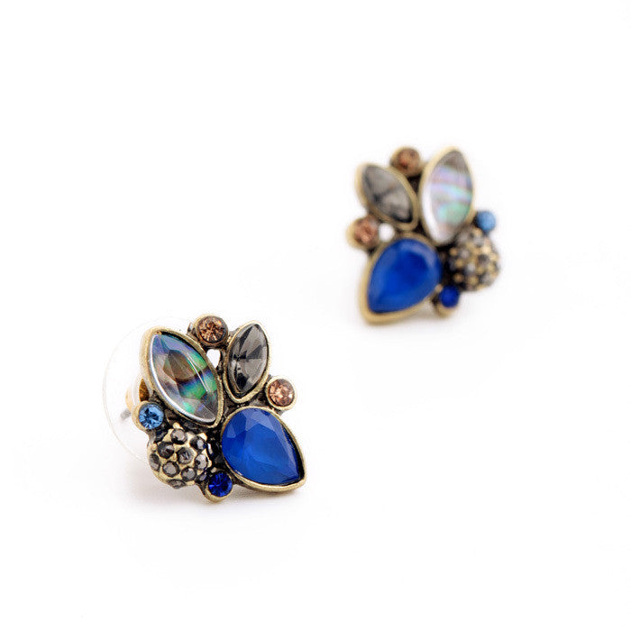 Elegant Rhinestone Earrings Wholesale Mulit Color Retro Pendientes Stud Earrings Jewelry