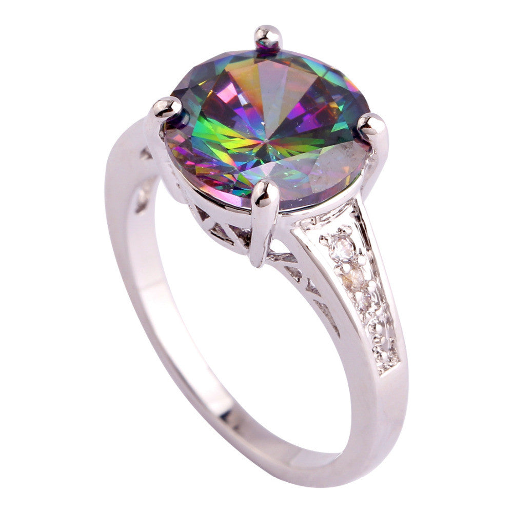 Engagement Bridal Round Cut Rainbow & White Sapphire Silver Ring Women Jewelry