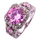 Engagement Wedding Bridal Hot Sales Women Round Cut Pink & White Sapphire 925 Silver Ring