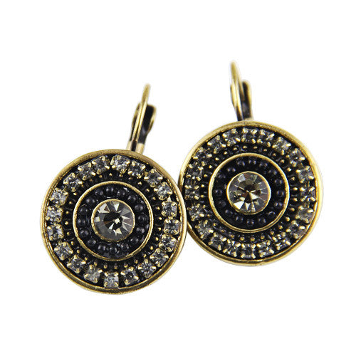 Ethnic Jewelry New Women Vintage Antique Bronze Plated Crystal Rhinestone Multicolor Balls Statement Drop Earrings Jewelry