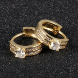Ethnic18K Gold Plated Charm Austrian Crystal Hoop Earrings Double Round Shiny Rhinestone Delicate Earring Jewelry