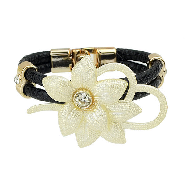 Ethnic Jewelry Colorful Pulseras PU Leather And Rhinestone Flowers Bracelets for Women Female Summer Style Bangles