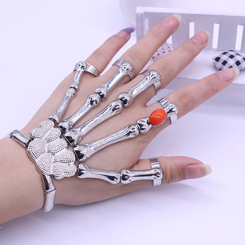 Europe And America Silver Punk Rock Skeleton Skull Hand Bone Bracelet Ruby Goth Skeleton Bracelet for women
