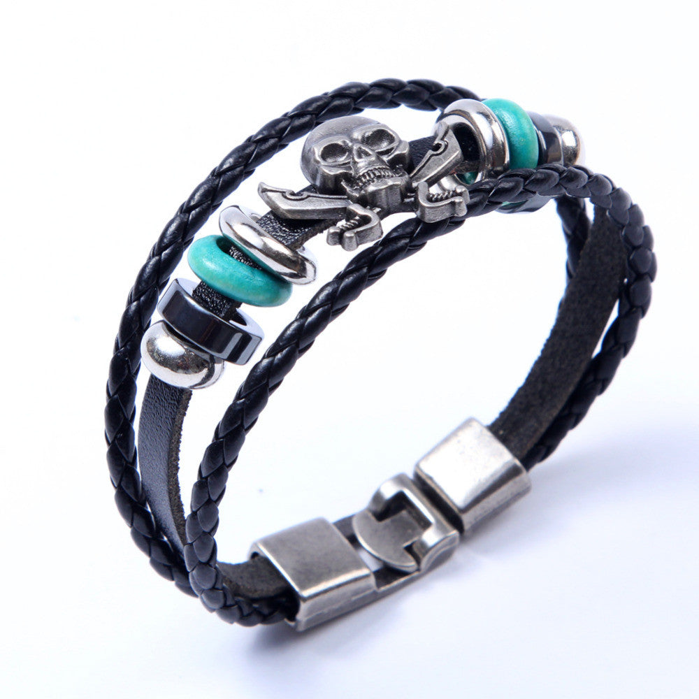 Europe Punk Hand Made Braided Charm Bracelet Bangles Skull Wristband Cuff Leather Bracelet For Men Adjustable