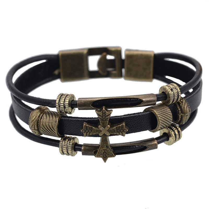 European Punk Style Genuine leather Braided Bracelet Vintage Religious Cross Charm Bracelets Wristband Men Wrap Bracelet Jewelry