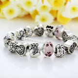 European Style Charm Bracelet For Women With Heart Letter Beads Pink Murao Glass Beads