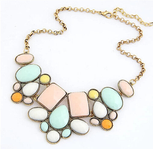 European and American fashion luxury gorgeous geometric polygon temperament short necklace