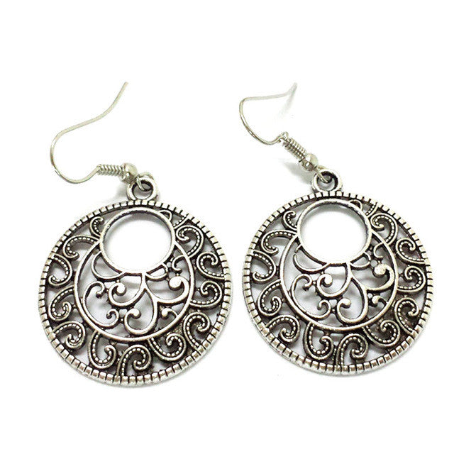 Exotic Round Drop Vintage Dangle earrings Antique Silver fashion Jewelry Bijouterie