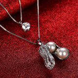 Best Gift silver fashion necklaces for women 2016 peanut collier femme charms Fine 2Layers Pendants & Necklaces