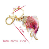 Exquisite Enamel Crystal Fish Key Chains Holder Goldfish Purse Bag Buckle HandBag Pendant For Car Keyrings KeyChains
