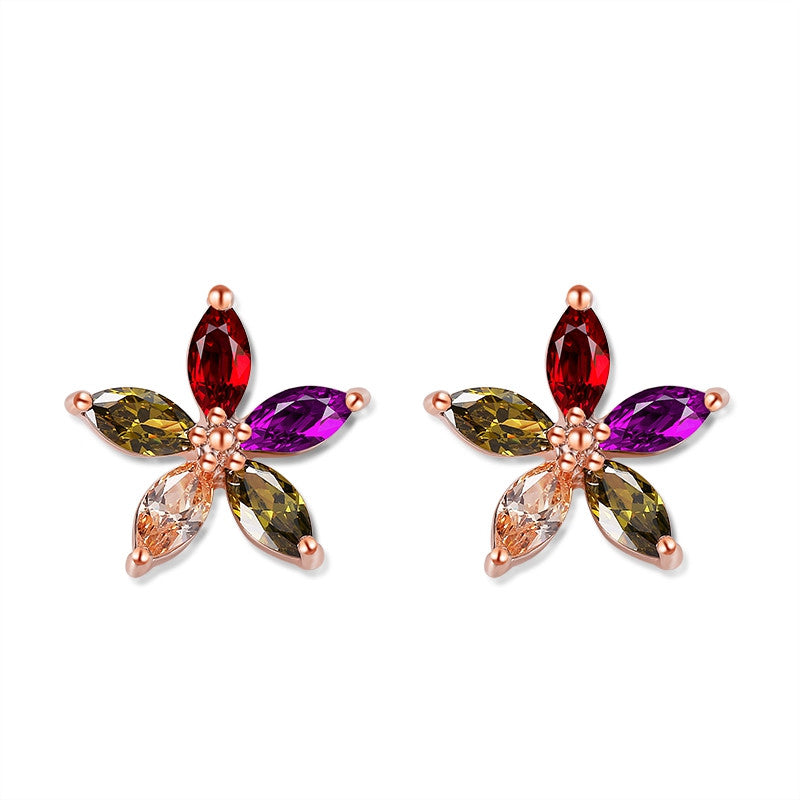Rose Gold Plate Multicolor Marquise Stone Flower Shape Cubic Zirconia Diamond Women Stud Earrings Star Earrings