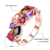 Brand Colorful Cubic Zircon Engagement Ring Hypoallergenic Copper Rose Gold Plated Wedding Rings for Women