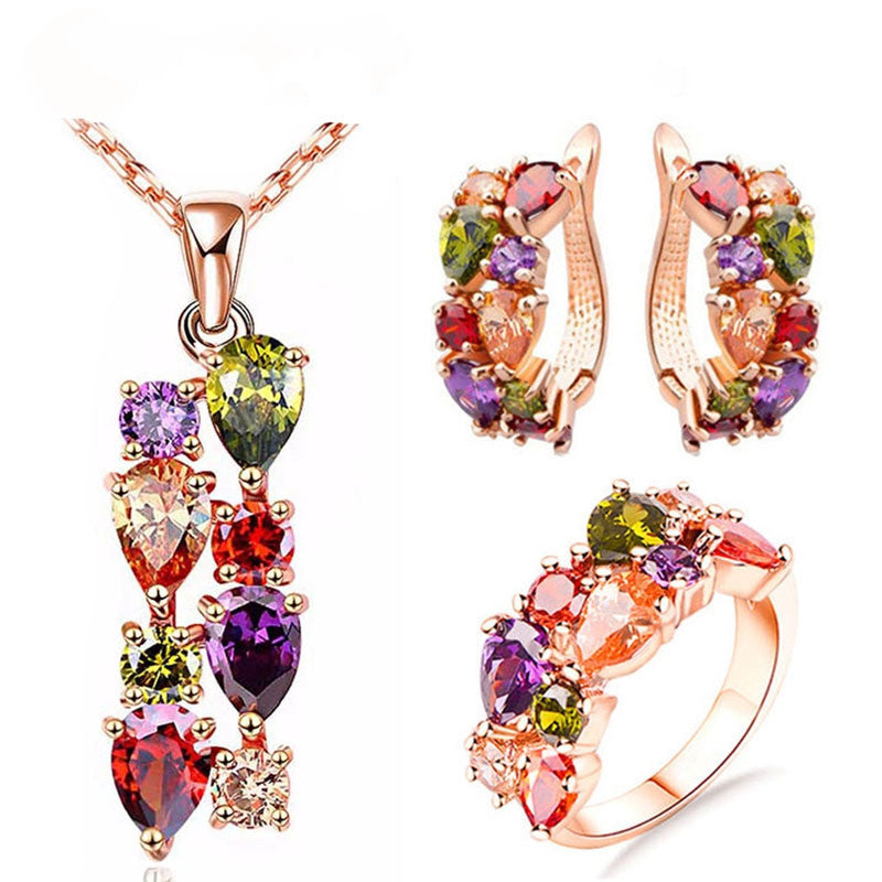 Colorful Jewelry Sets Cubic Zircon Hypoallergenic Rose Gold Plated Necklace/ Earrings/Ring Wedding Jewelry for Women