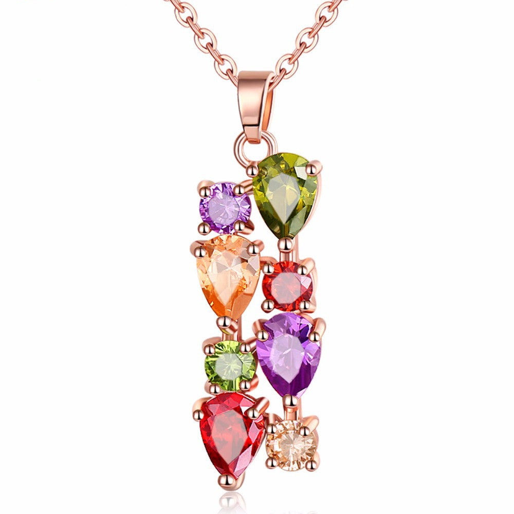 Fashion Colorful Zircon Necklace for Women Wedding Flower Pendant Necklace Rose Gold Plated Bridal Jewelry