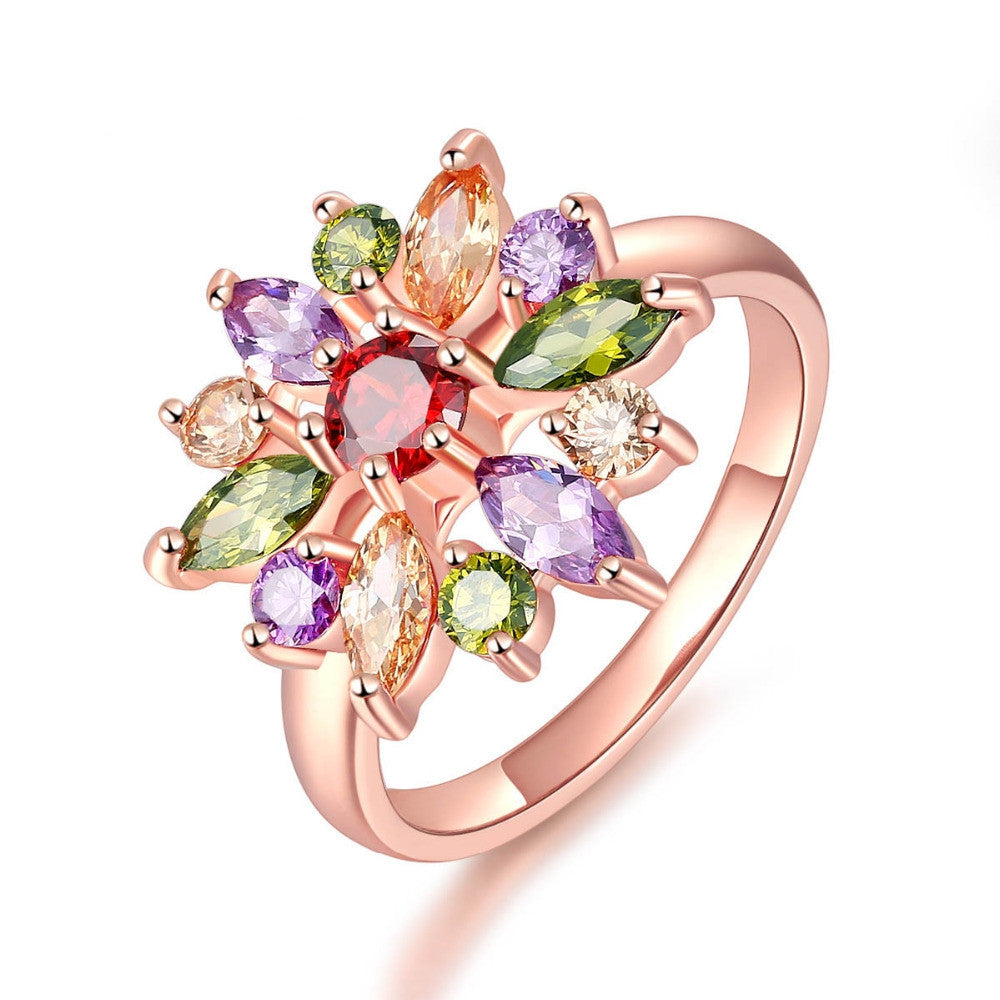 Unique AAA Colorful Cubic Zircon Design Engagement Ring for Female Rose Gold Plated Wedding Women Rings