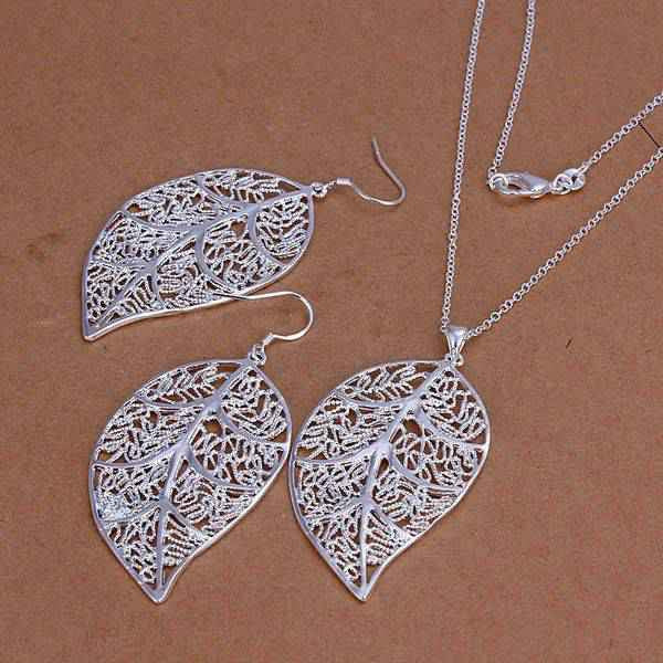 silver plated leaf jewelry sets necklace bracelet bangle earring ring