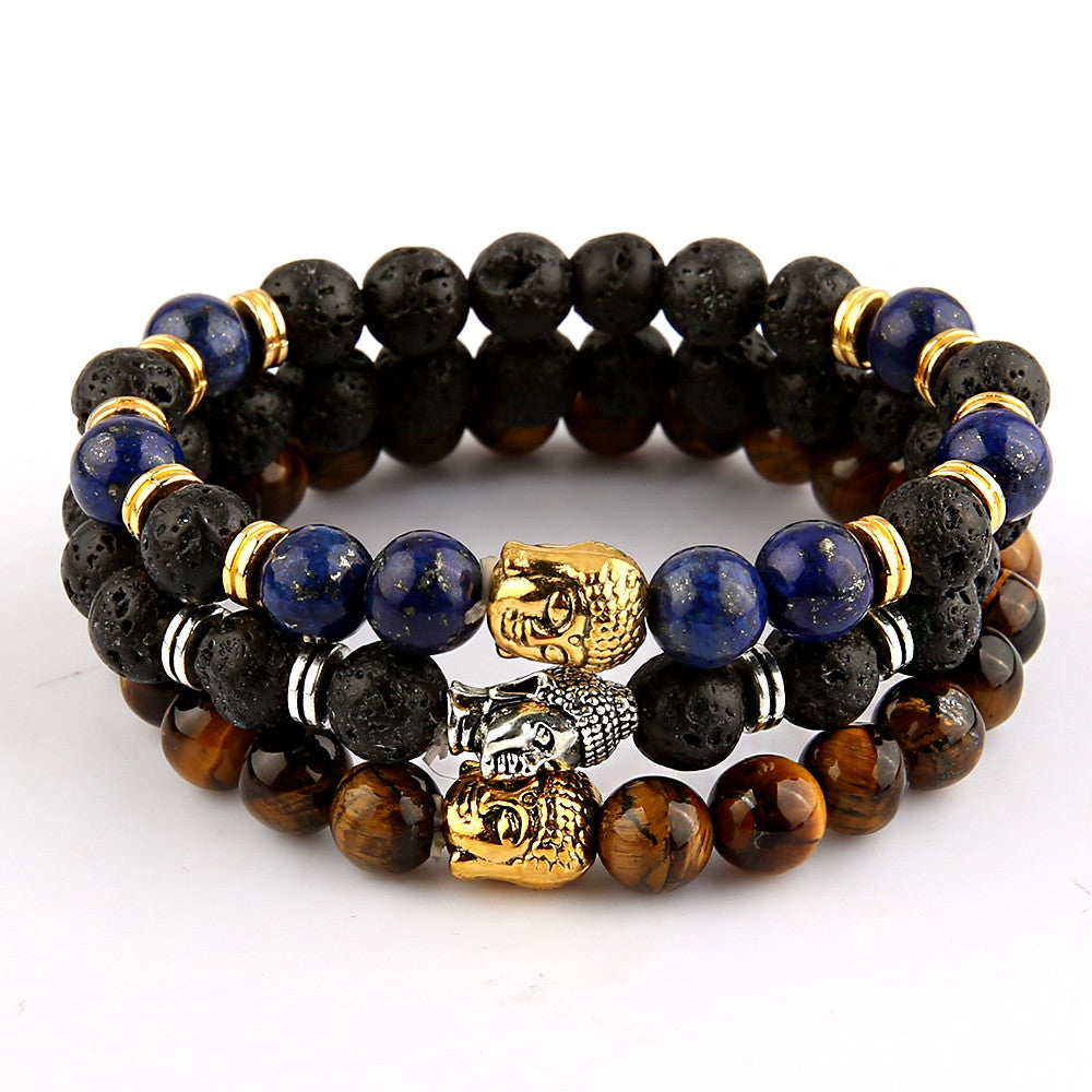 Famous Brand Silver Gold Lion Buddha Bracelets Bangles for Women Men Natural Stone Jewelry Female Male Nomination Pulseras Mujer