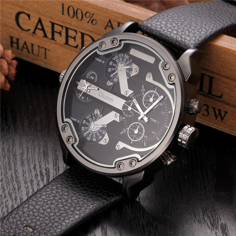 Famous Designer Mens Watches Top Brand Luxury Quartz Watch Oulm Leather Strap Big Dial Military Quartz Clock relogio masculino