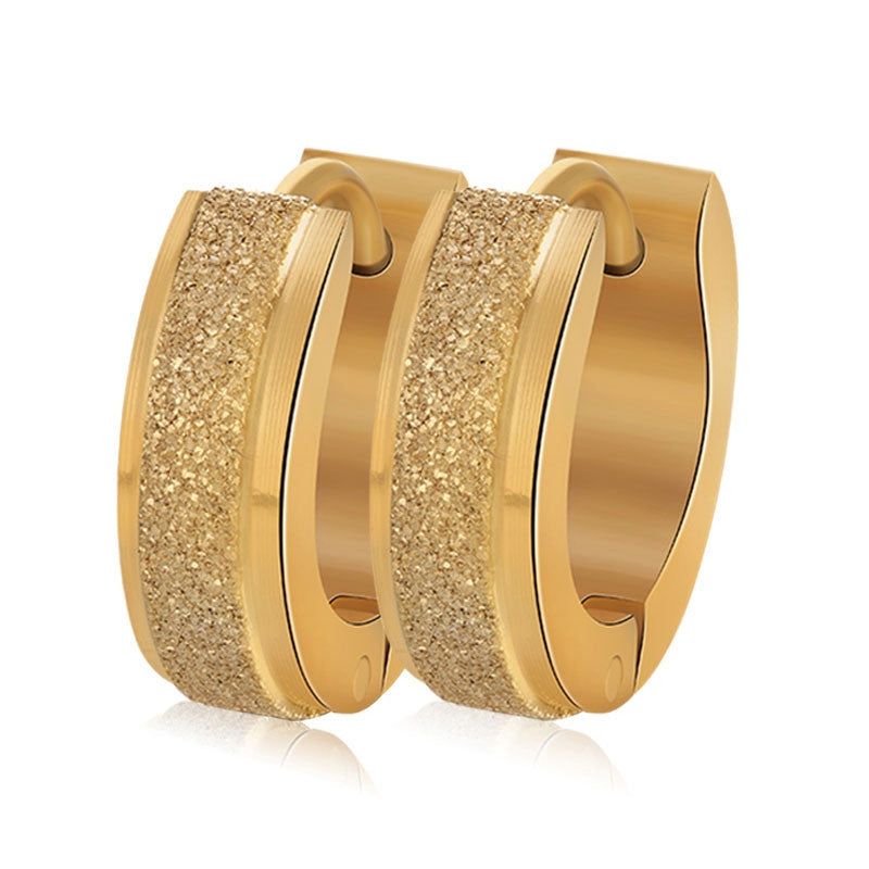 Fashion Gold Plated Hoop Earrings Punk Rock Stainless Steel Earrings For Women