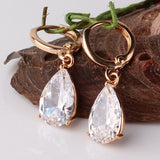 Fashion 18K Gold Plated White Crystals Zircon CZ Drop Dangle Earrings for Women Fashion Luxury Long Dangle Earrings Jewelry