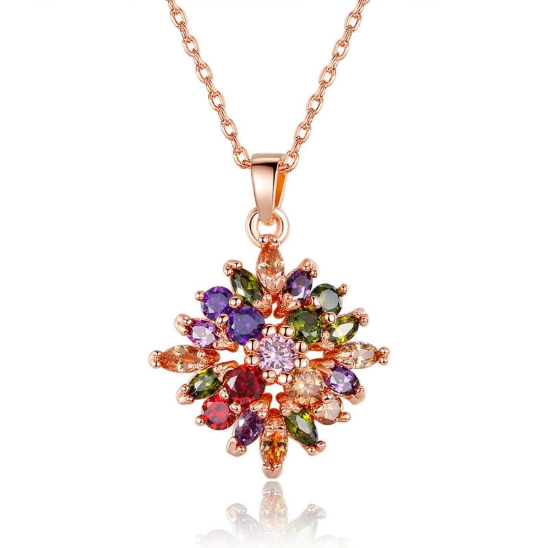 Fashion 18K Real Gold Plated Rhombus Necklaces Pendants with Colorized AAA Cubic Zircon For Women Birthday Gift