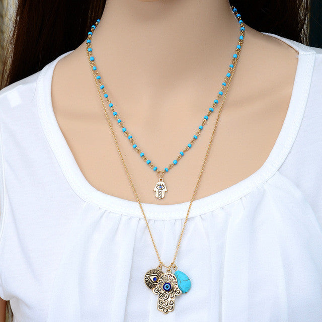 Fashion 2 Layers Blue Beads Hand Chain Necklace Multi-Layer women Gold Plated Charms Pendant Necklace