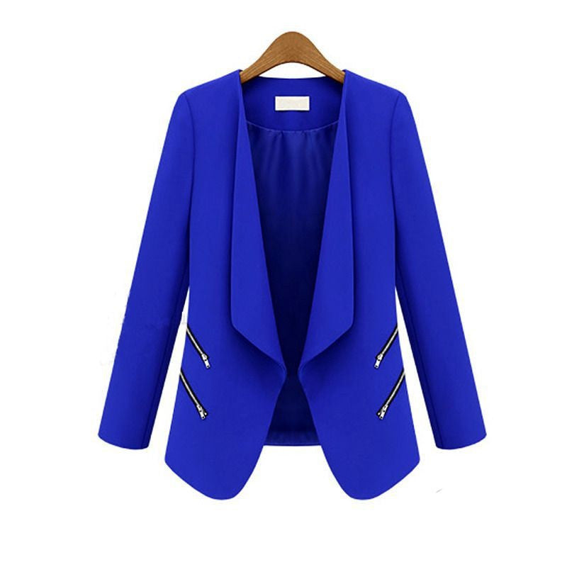 Fashion Women's Slim Leisure Suit Jacket Zipper Long Sleeve Solid Thin Coat for Spring Autumn
