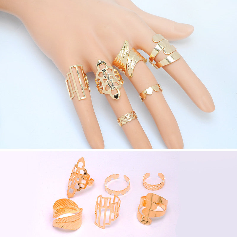 Fashion 6 pcs/set Geometric Leaf Open Rings Set Boho Hollow Flower Party Index Mid Finger Rings for Women Aneis Bijoux Jewelry