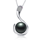Fashion 925 sterling silver jewelry hot selling 10-11m freshwater pearl pendant necklace for women platinum plated jewelry snake