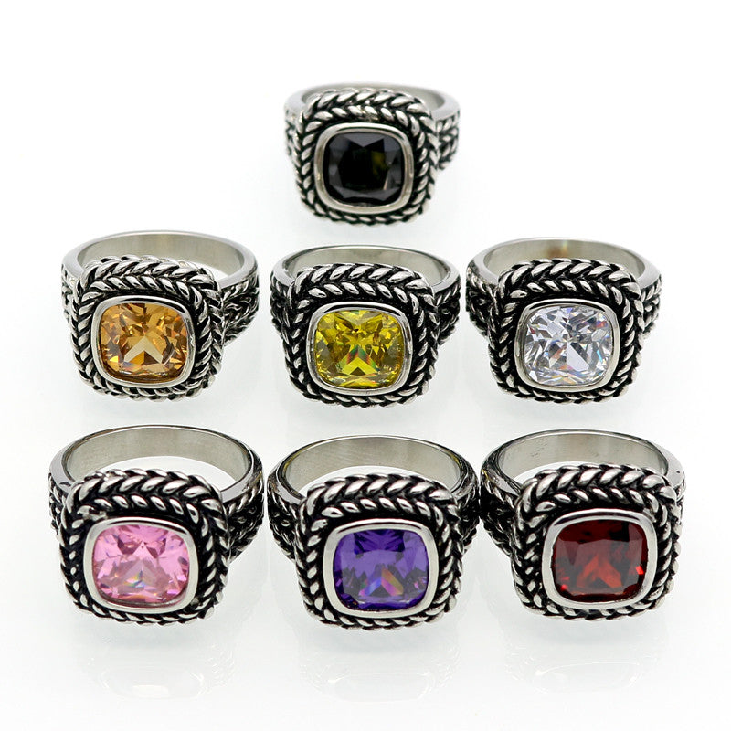 Fashion AAA Zircon Jewelry Titanium Steel Size 6 to 12 Male Or Female Black Sapphire Antique Rings Men/Women Finger Ring