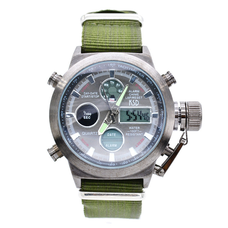 Fashion Army Cool Men Military Watch Canvas Strap Hours Steel Case 50ATM Waterproof Stop Watches Sports Casual LED Digital Clock