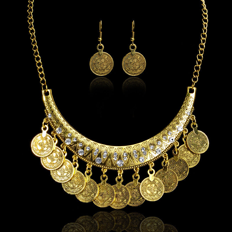 Fashion Boho Ethnic Vintage Carved Flower Coin Tassel Choker Necklace Earrings Set Statement Necklaces & Pendants Fine Jewelry