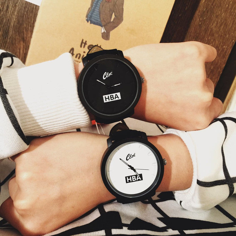 Fashion Brand HBA Leather Strap Unisex Watches Men Quartz Women Dress Watch Sports Military Relojes Geneva Wristwatch