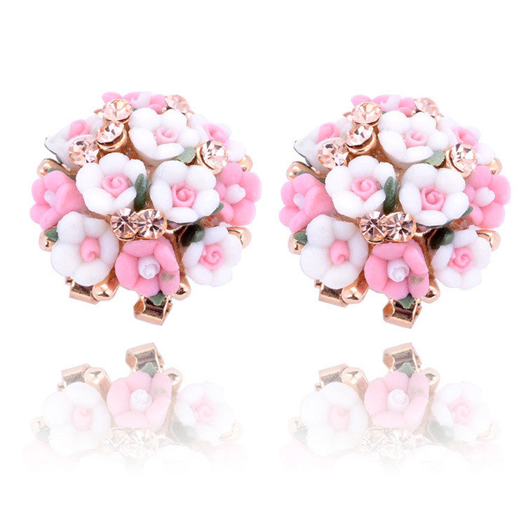 Fashion Brand Jewelry Bohemian Pink Clay&Rhinestone Flower Ear Stud Earrings For Women Summer Style Gold Filled Crystal Earrings
