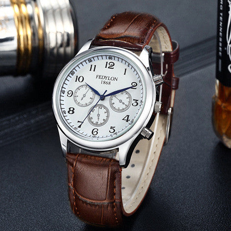 Fashion Casual Mens Watches Luxury Brand High Quality Leather Business Quartz Watch Men Waterproof Wristwatch